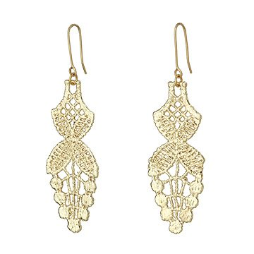 Wisteria Gold Dipped Lace Earrings