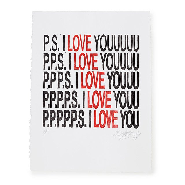P.S. I Love You Linocut Print