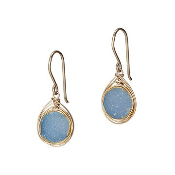 Wire Wrapped Druzy Earrings