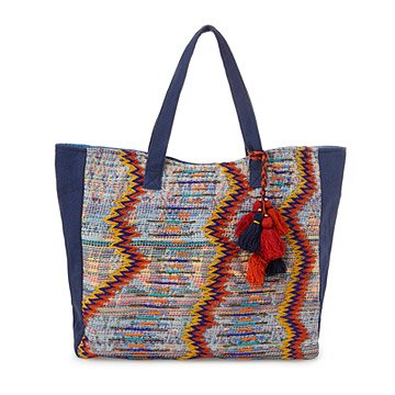Textured Embroidered Tote
