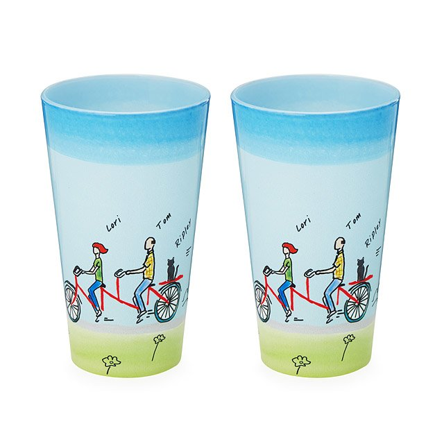 Personalized Couple Bike Glassware - Set of 2