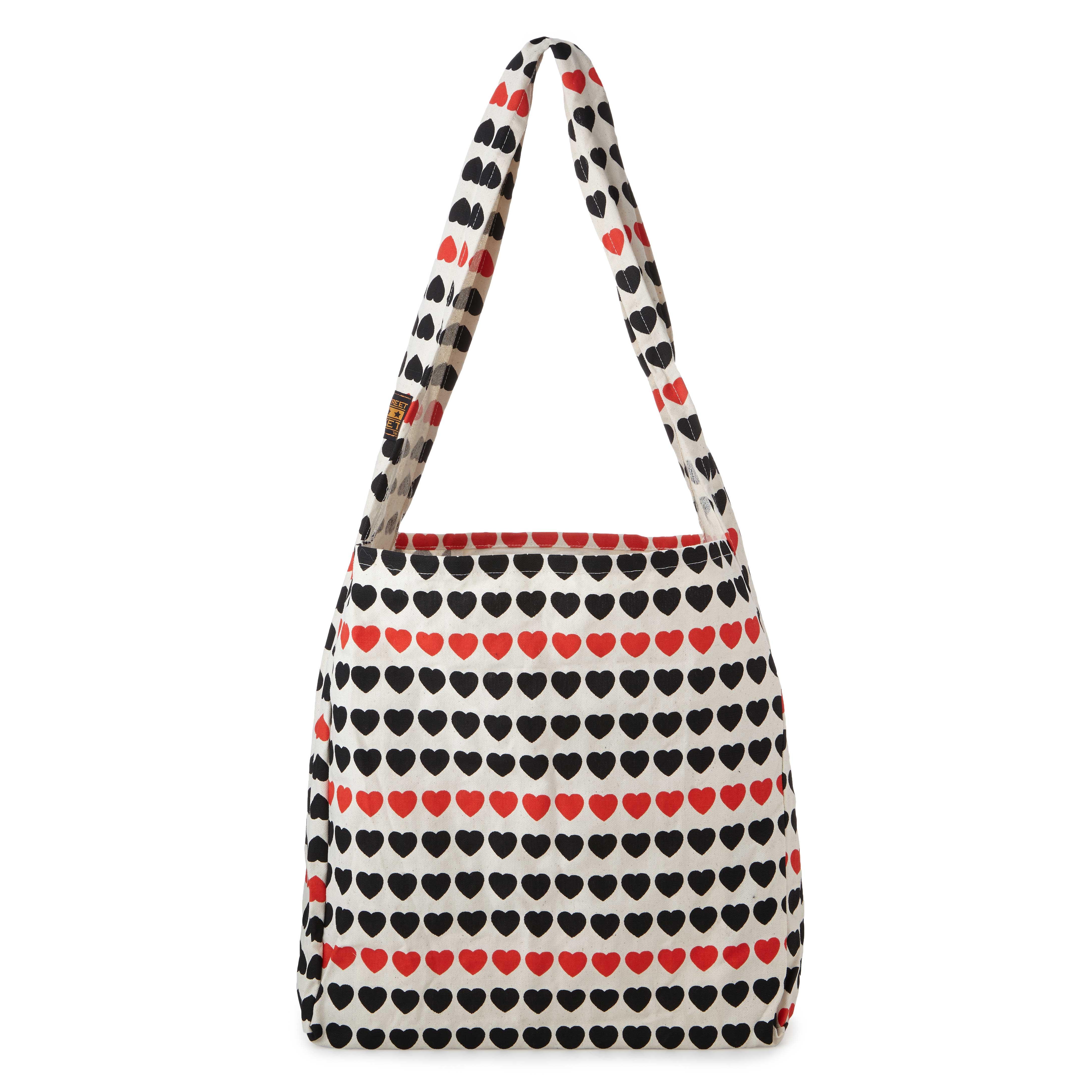 I Love Hearts Large Canvas Market Bag