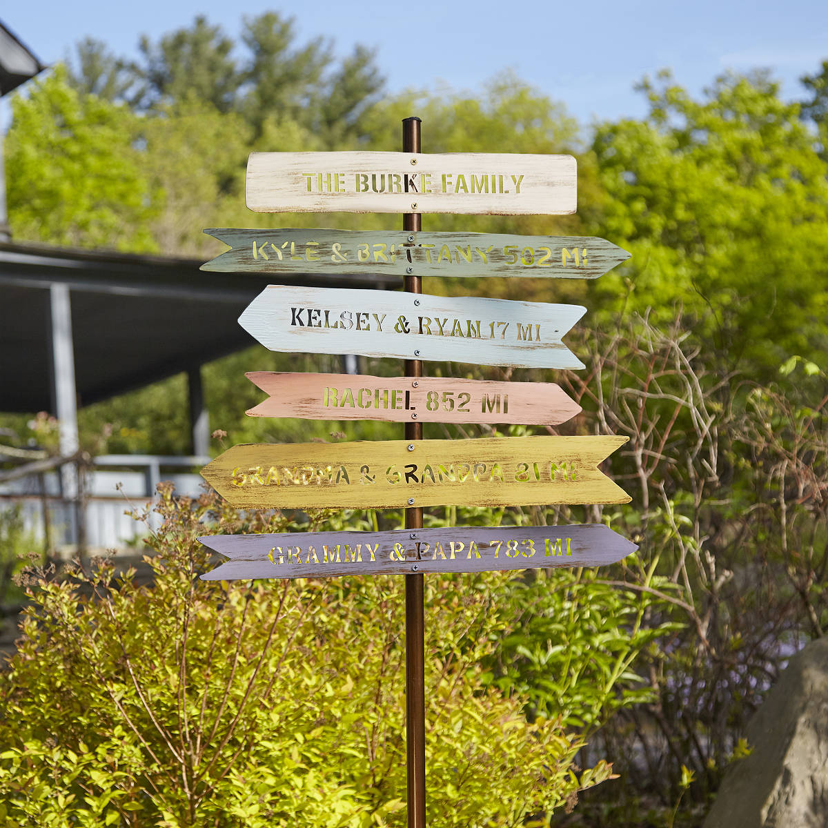 Personalized Family Member Signpost Garden Art