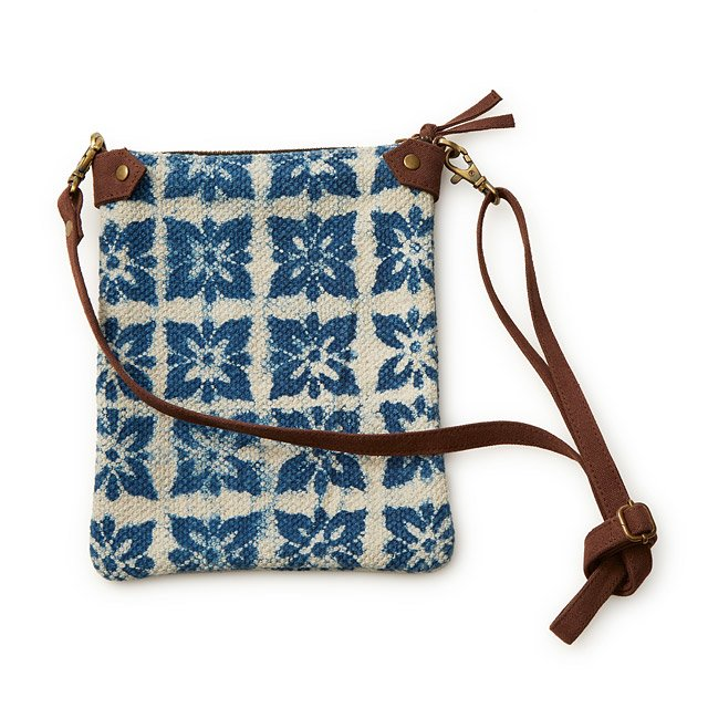 Veggie Dyed Block Printed Crossbody Bag