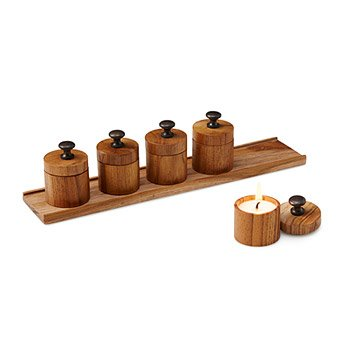 Mini Teak Candles & Tray