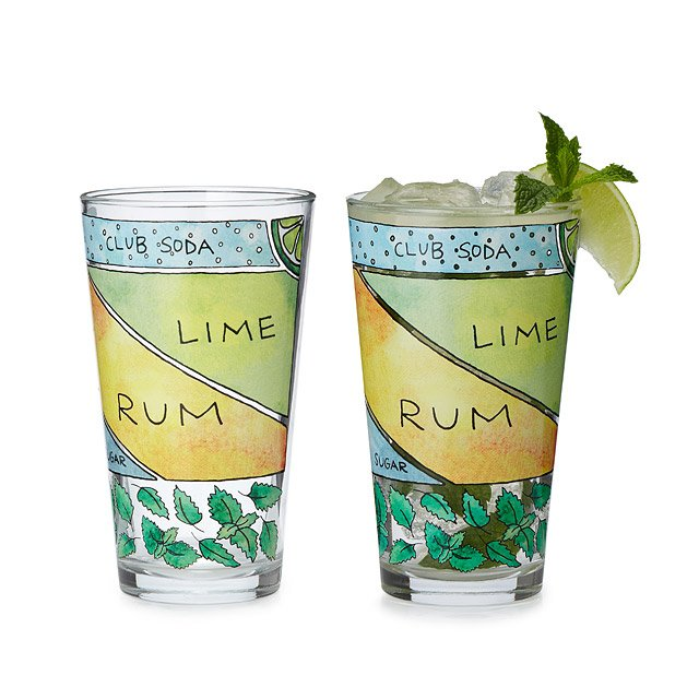 Mojito Diagram Glassware - Set of 2