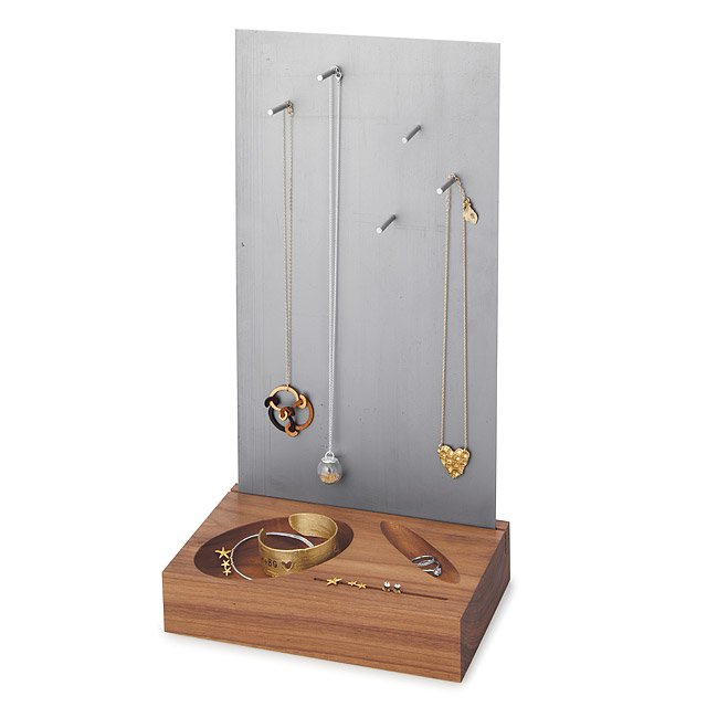 Walnut & Steel Magnetic Jewelry Organizer