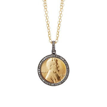 Diamond Penny Necklace With Personalized Year