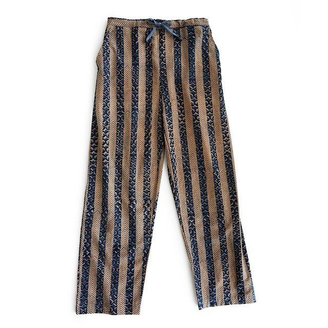 Blue Striped Hand Block Print PJ Pants
