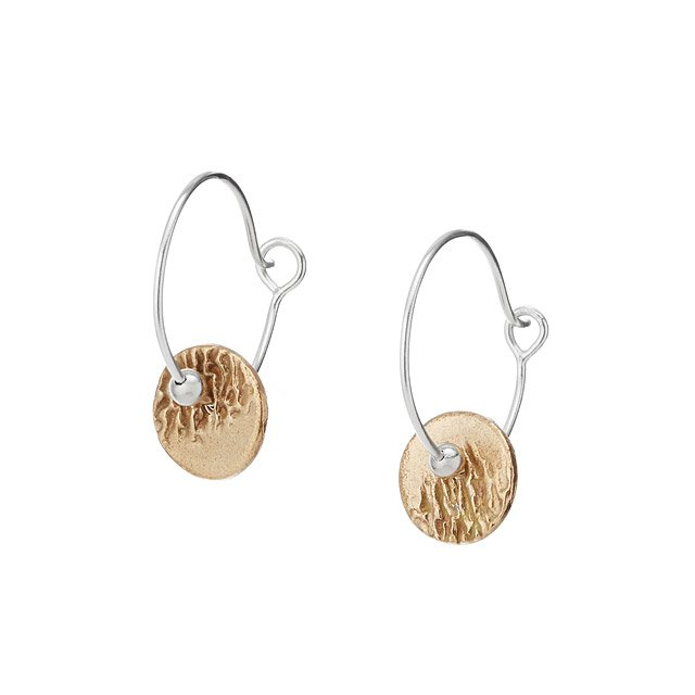Mixed Metals Ripples Hoop Earrings