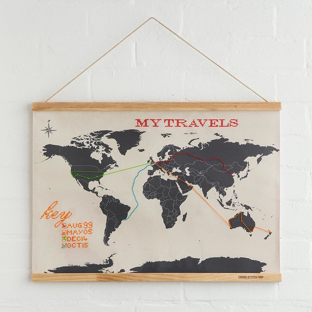 Wanderlust Cross Stitch Map – World Map For Travel