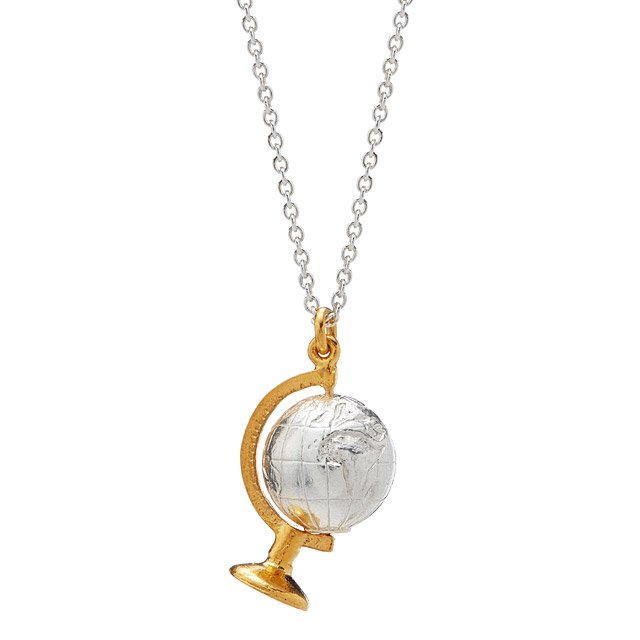 Silver Spinning Globe Necklace