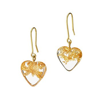 Speckled Heart of Gold Earrings