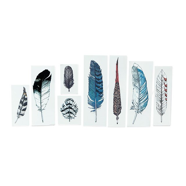 Watercolor Feather Set of 8 Temporary Tattoos