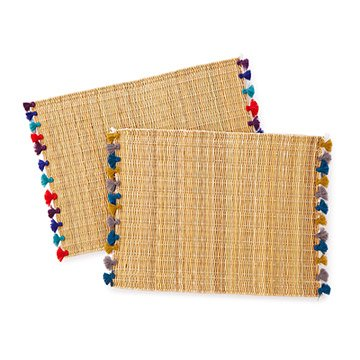 Woven Straw Placemats with Colored Tassels