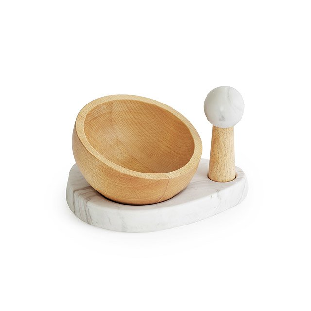 Marble and Beech Wood Mortar and Pestle