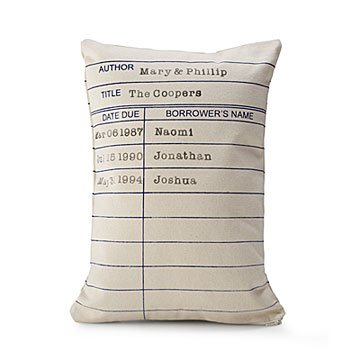Personalized Library Card Pillow
