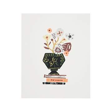 Bouquet & Books Collage Art Print