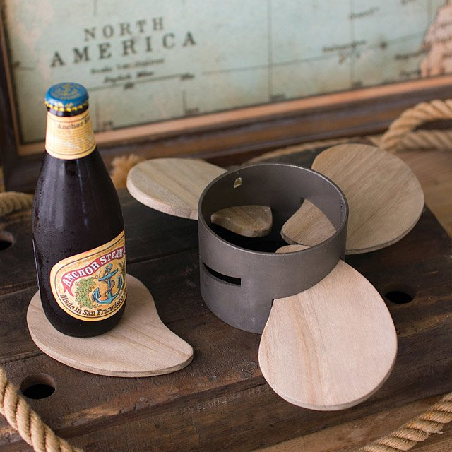 Metal and Wood Propeller Coaster Set