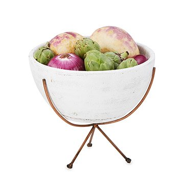 White Earthenware Bowl with Stand