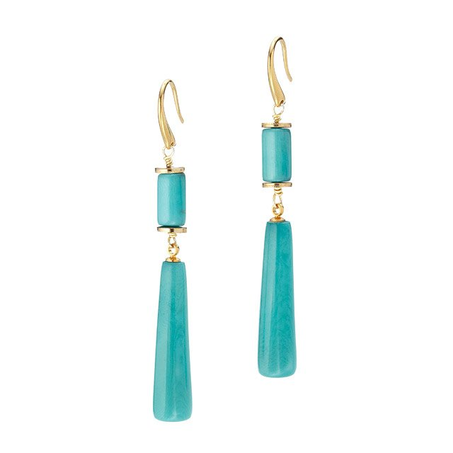 Teal Tagua Drop Earrings