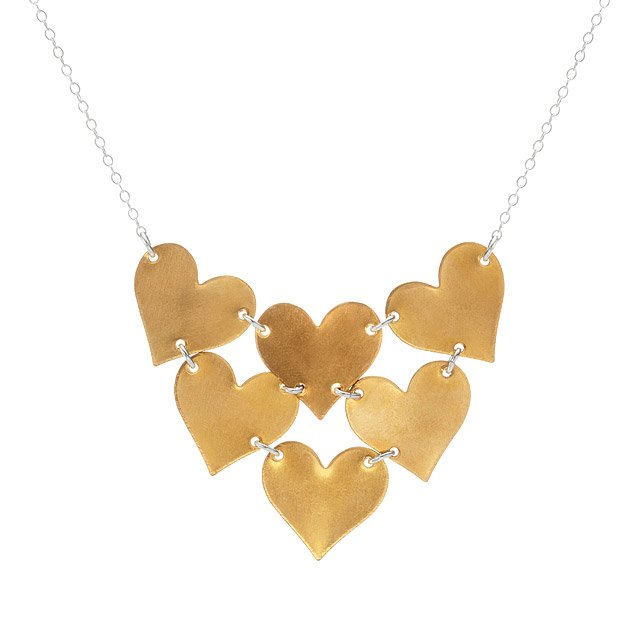 Brass Heart Bib Necklace