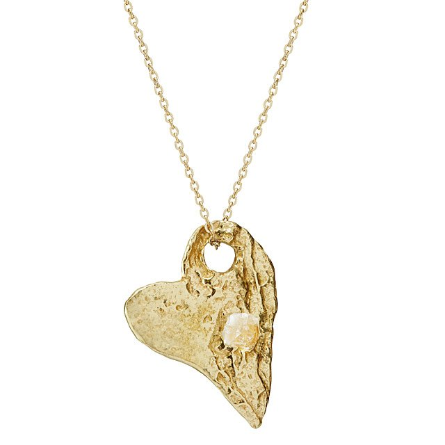 Sculptural Heart Necklace with Herkimer Diamond