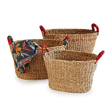 Large Seagrass Nesting Sari Baskets - Set of 3