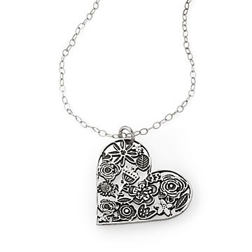 Floral Heart Cutout Necklace