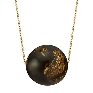 Smokey Gold Speckled Orb Necklace