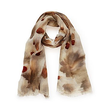 Nature Print Light Wool Scarf