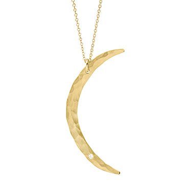 Thin Moon Diamond Necklace