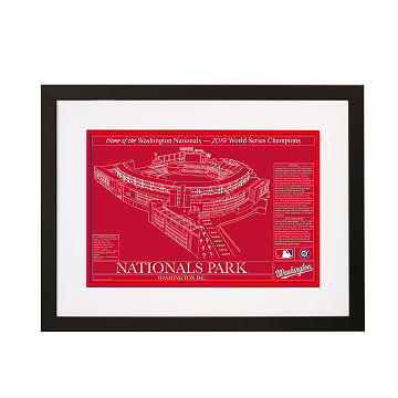 Large Baseball Stadium Blueprints - Team Colors