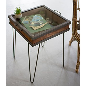 Recycled Wood and Metal Showcase Table