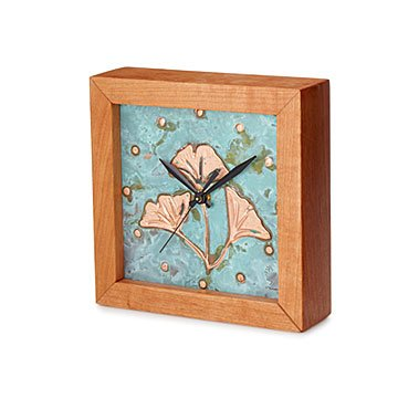 Patina Ginkgo Box Clock