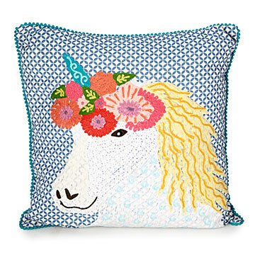 Eugenia the Unicorn Embroidered Pillow