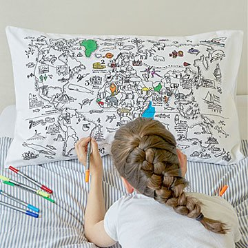 Color Your Own Map Pillowcase