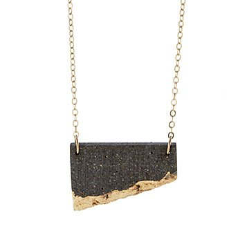 Gilded Concrete Offset Necklace