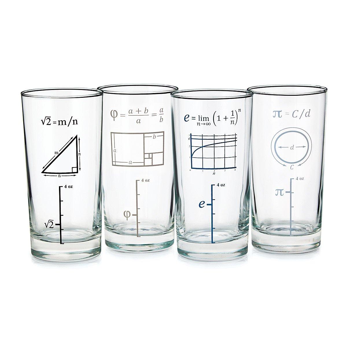 Mathematical Glasses Set Of 4 Math Drinkware Geek