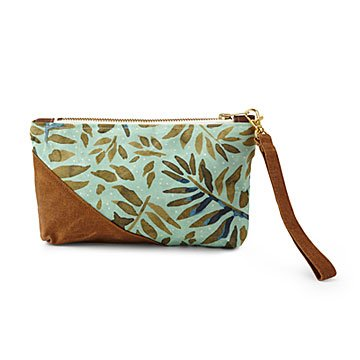 Fern Waxed Canvas Wristlet