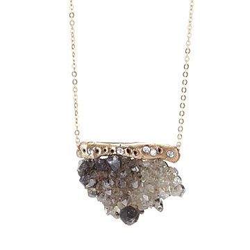Hand Forged Herkimer Druzy Necklace