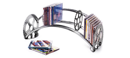 RECYCLED BICYCLE CD RACK  :  cd