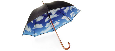 SKY UMBRELLA | Blue Sky Umbrella with Fluffy White Clouds Motif Keeps Rain Off, Today Show | UncommonGoods from uncommongoods.com