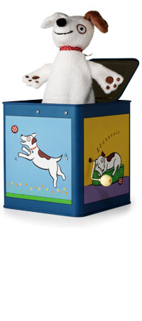 JACK IN THE BOX | Wind-up Dog Take on Traditional Toy with Colorful Box Illustrations | UncommonGoods