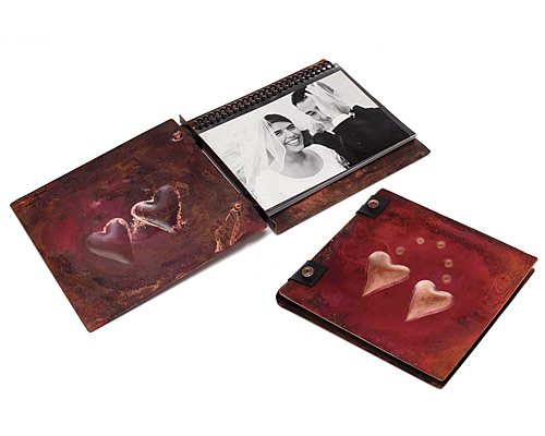 TWO HEARTS HANDMADE COPPER PHOTO ALBUM