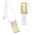 TREE POEM NECKLACE Time is Poem on Silver Necklace with Beautiful Gold Tree Design for Romance and Wisdom UncommonGoods from uncommongoods.com