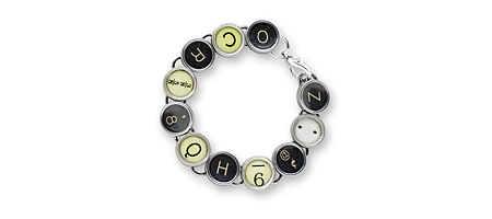 BLACK AND WHITE TYPEWRITER KEY BRACELET - UncommonGoods :  uncommongoods black and white typewriter key bracelet bracelet typewriter
