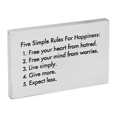 FIVE RULES FOR HAPPINESS PAPERWEIGHT