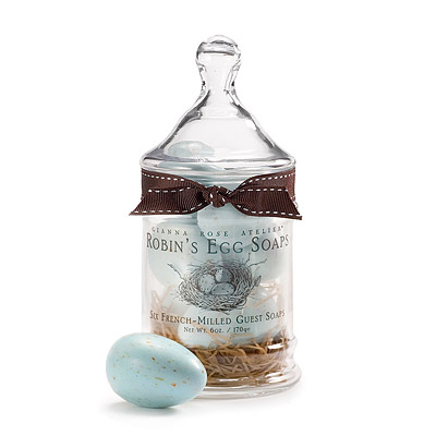 ROBIN'S EGG SOAPS IN APOTHECARY JAR