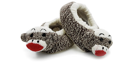 BABY SOCK MONKEY SLIPPERS | Baby Sock Monkey Slippers - Cute, Cozy and Stylish House Footwear for Little Ones | UncommonGoods :  uncommon goods slippers baby sock monkey